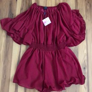 Chicwish Off the Shoulder Flutter Sleeve Romper